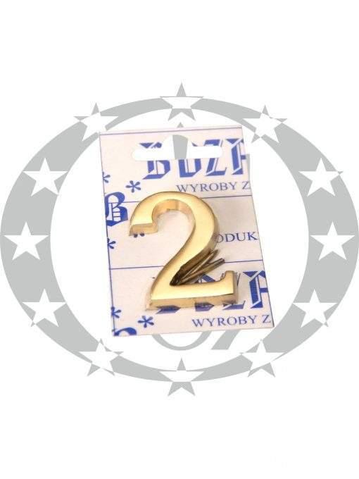 Знак малий цифра 2 латунь