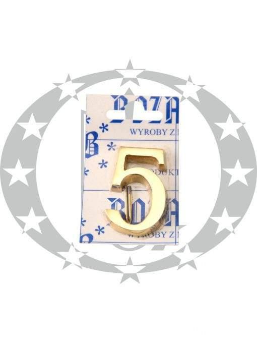 Знак малий цифра 5 латунь
