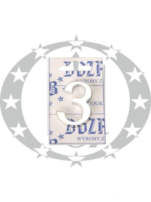 Знак малий цифра 3 хром
