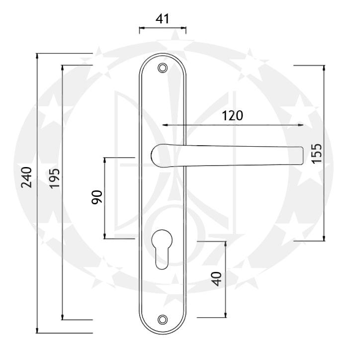 Ручка Metal-Bud ROYAL 90 PZ чорна (BR9YC)