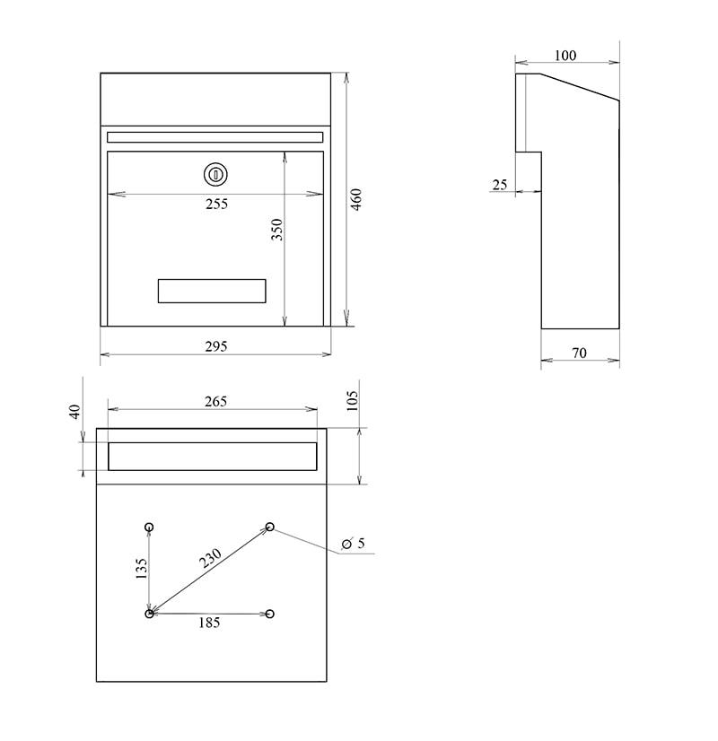 Скринька поштова W3 креслення і розміри
