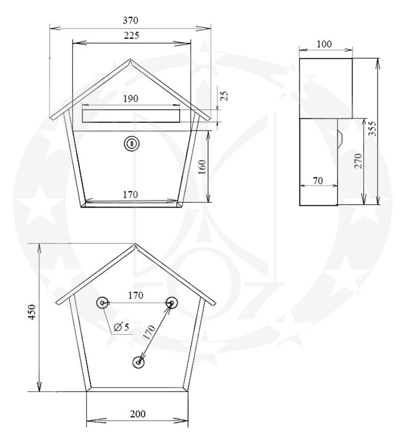 Поштова скринька SD2 креслення і розміри