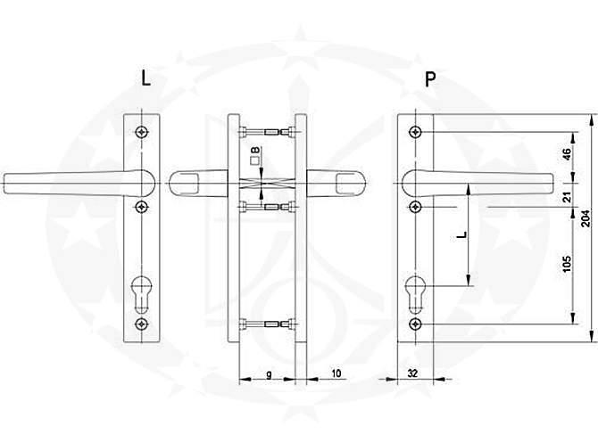 Ручка FAM Jupiter(45.21.054P/055L) 90 PZ креслення