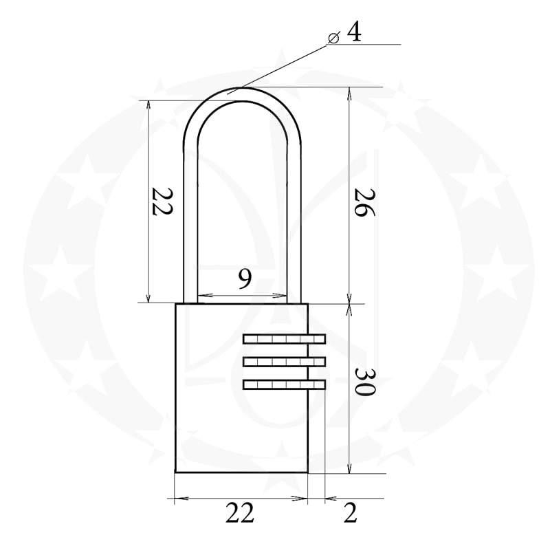 Навісний замок колодка для валізи кодова Handmet креслення