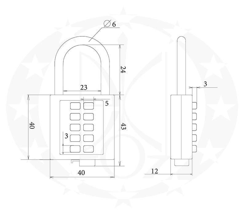 Навісний замок колодка кодова Handmet креслення