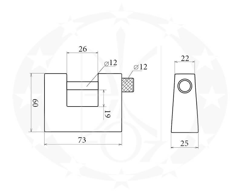 Навісний замок колодка пешка Aріко ВС-3 кресленння розміри