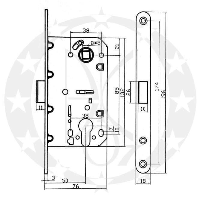 Замок SAFITA 85/50 PZ (SD410C-S SN) креслення