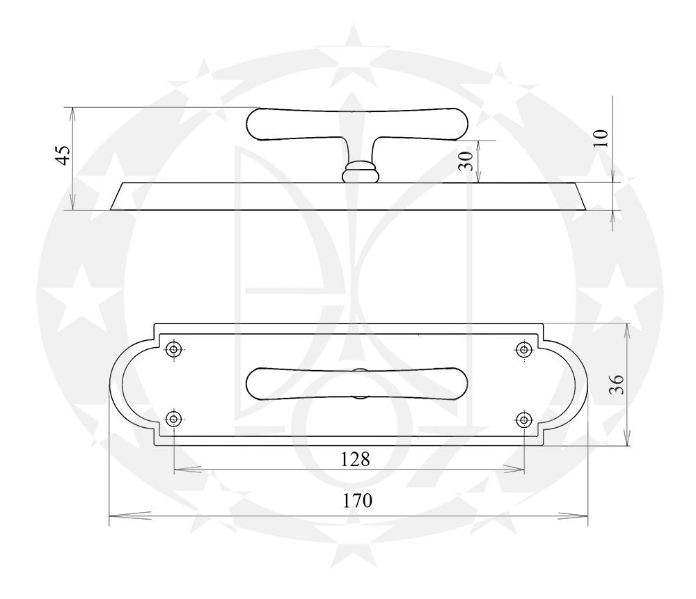Ручка віконна ALT WIEN велика бронза Т-подібна креслення розміри
