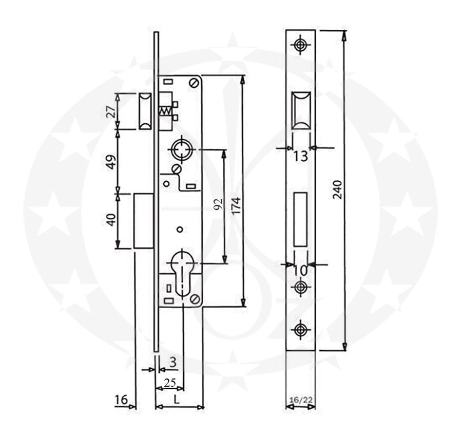 Замок SANTOS Profile Lock 726 92/25 PZ креслення і розміри