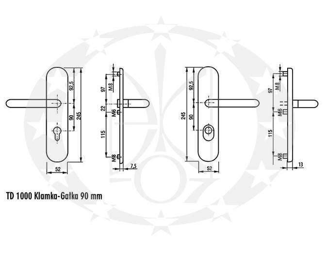 Ручка противзламна GERDA TD - 1000 ANCONA 90PZ креслення