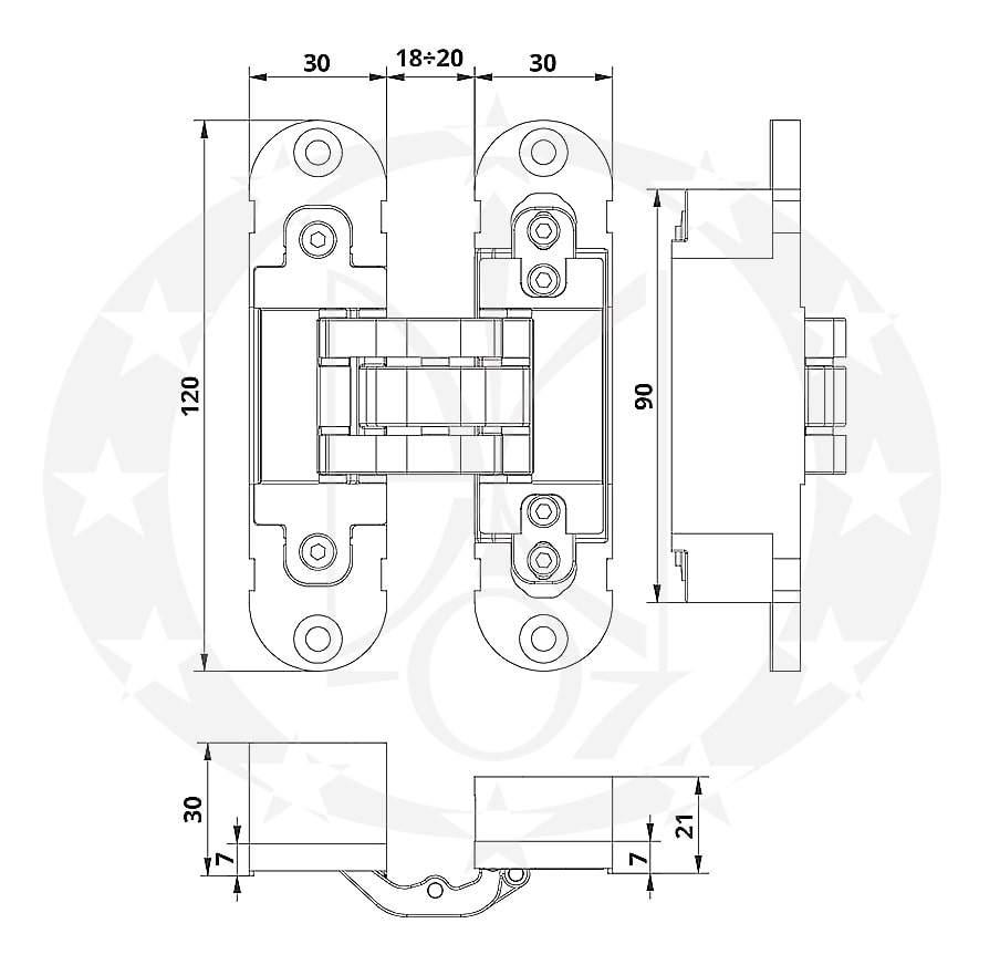 Завіс Otlav mod.300 INVISACTA L30 H120 креслення