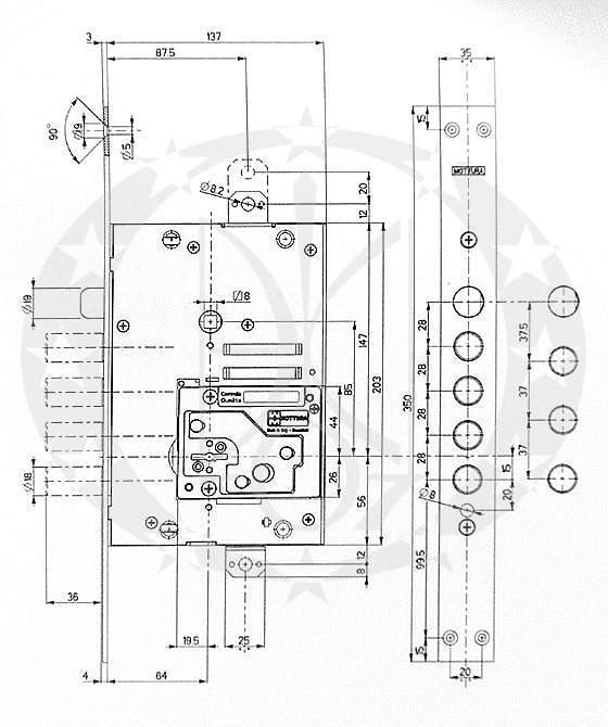 Основний замок MOTТURA №52.771 DM2854 (TSBM) креслення і розміри