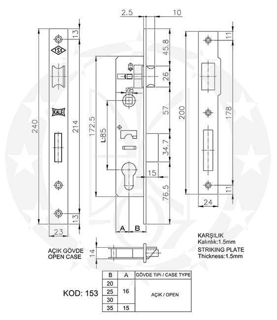 Замок KALE №153 85/20 PZ креслення розміри