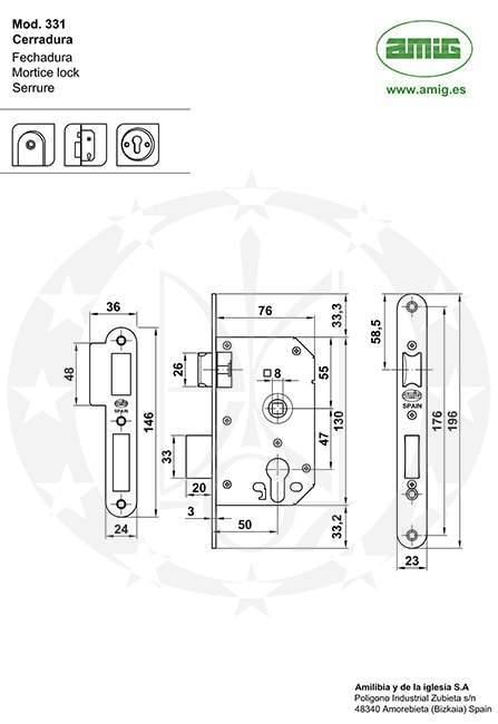 Замок AMIG mod.331(8288) 47 PZ креслення