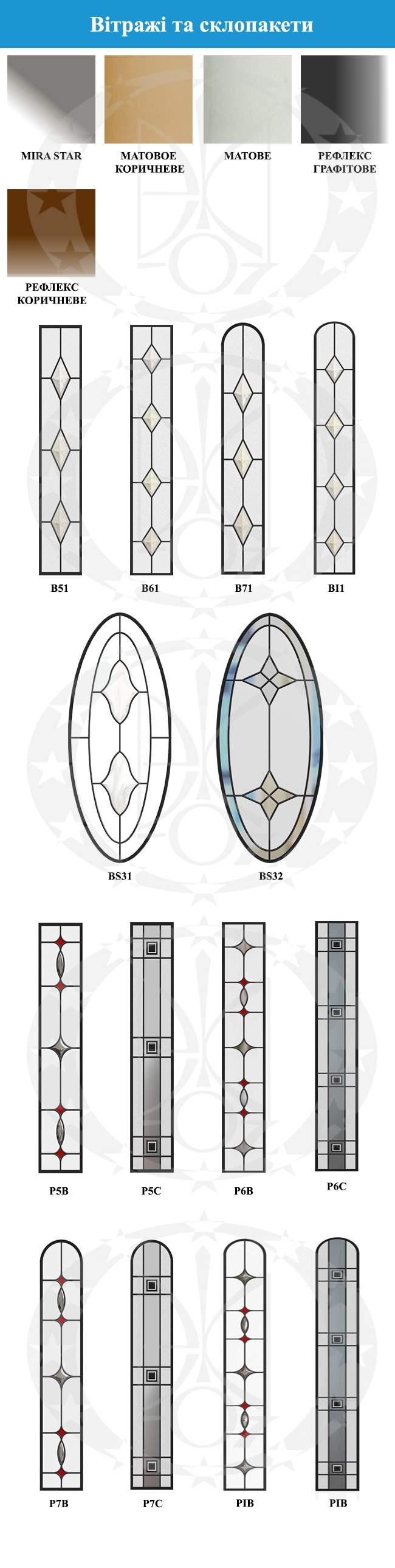 Варіанти вітражів та склопакетів GERDA GSX