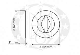 Дверна накладка Gamet PLT 24Z WC 04 07 BL WC креслення розміри