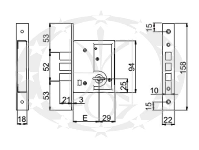 Замок SAB 4100/50 E50 креслення