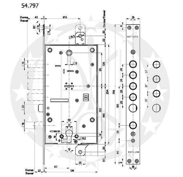 Замок MOTТURA №54.797 TBDR54/TBSR54