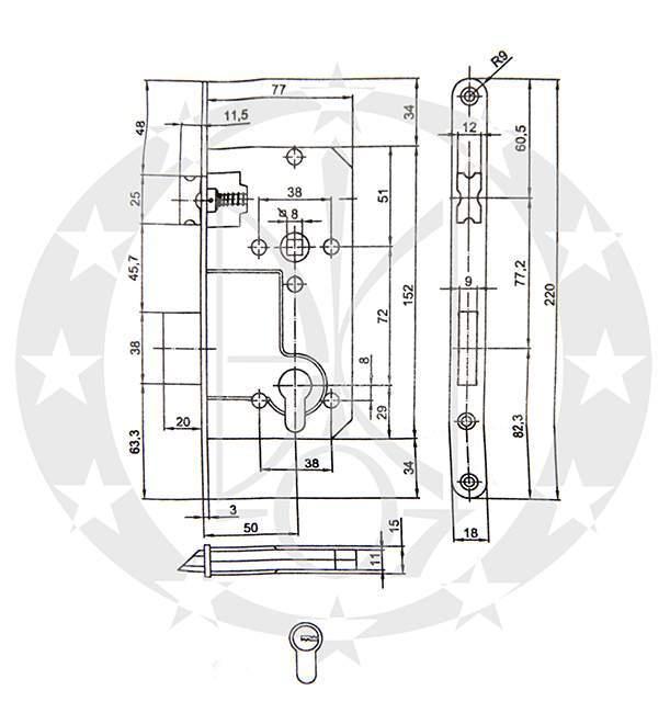Замок ALFA F18 72/50 PZ креслення