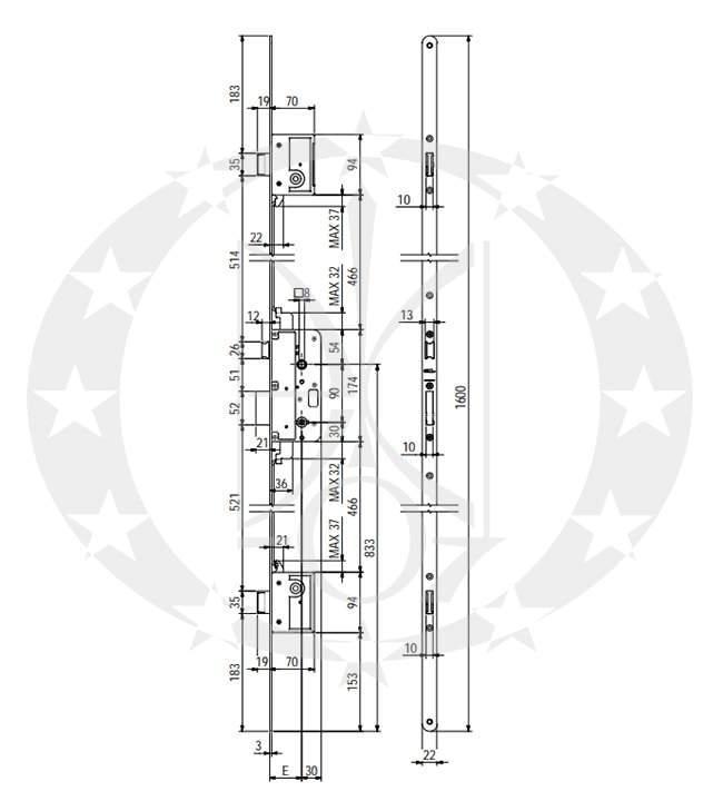 Замок SAB 590/3/90/50 E50 ZT креслення