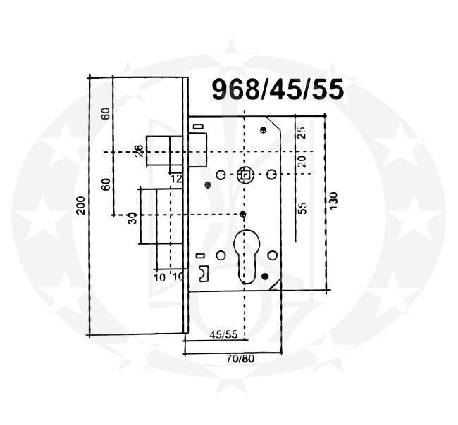 Замок BRUNO 968-45 0582 PZ креслення