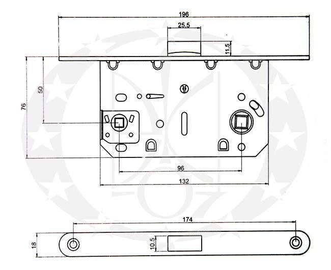 Замок міжкімнатний SAFITA 85/50 PZ (SD410C-S SN) креслення