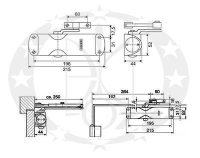 Амортизатор дверний GEZE TS1000 C креслення