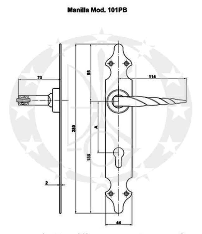 Ручка AMIG mod.101(19198) 85PZ креслення