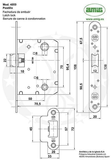 Замок AMIG mod.4000 (6270) креслення
