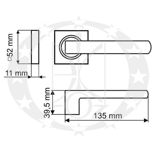 Ручка Gamet UNICO DH-40-26J-06-KW-A креслення