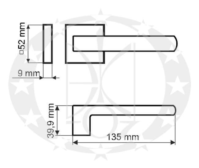 Дверна ручка Gamet UNICO DH-40-26J-07-KW-A креслення