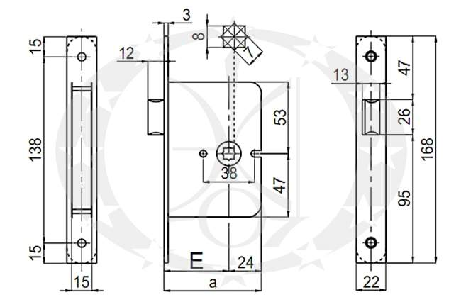 Замок SAB O2150/50 E50 OLV креслення
