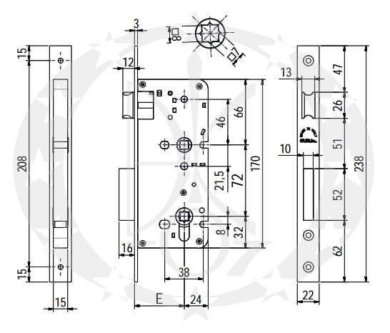 Замок SAB O2216/72 E50 WC креслення