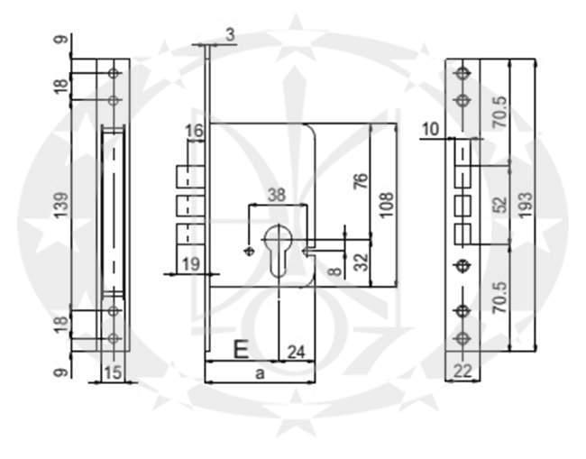 Замок SAB 2100 E50 PZ OCL креслення