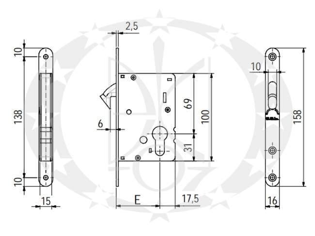 Замок SAB O2300/30 E30 PZ OLV креслення