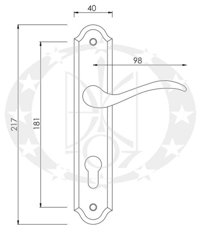 Ручка дверна Nomet BARON T-026-172 72 ключ креслення і розміри
