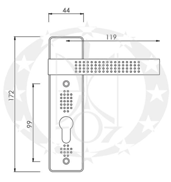 Ручка дверна Nomet ARGUS T-116-172 72 креслення