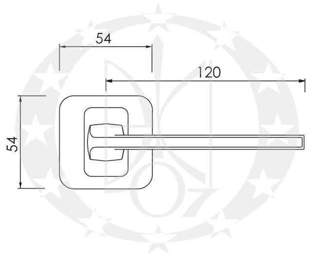 Ручка дверна Nomet PEM T-1421-120 креслення