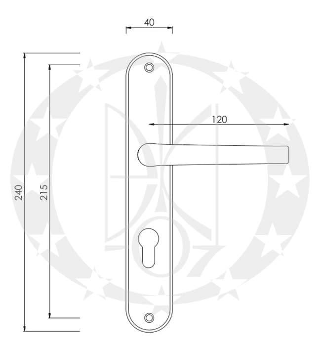 Ручка дверна Nomet PEGAZ T-267-190-P 90 PZ креслення і розміри