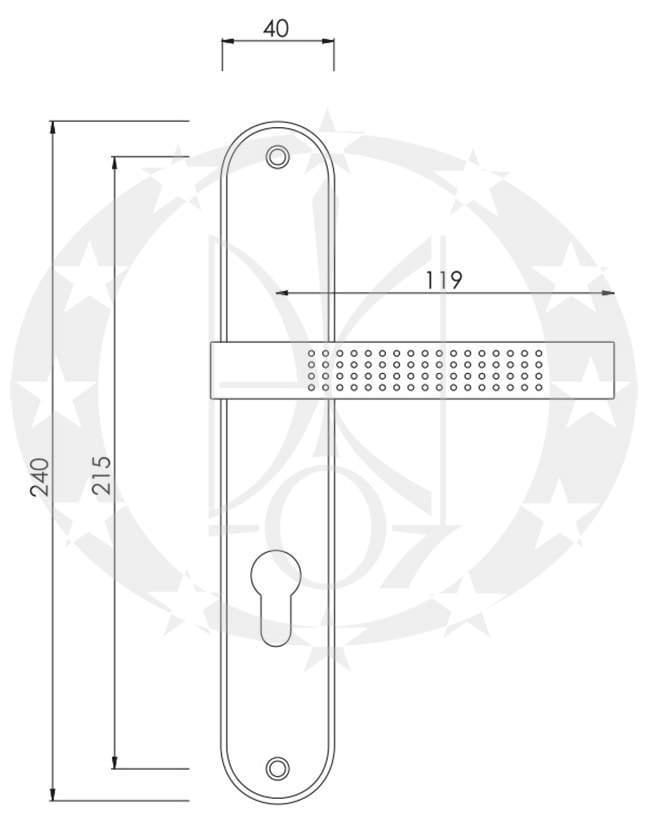 Ручка дверна Nomet ARGUS T-505-100 креслення