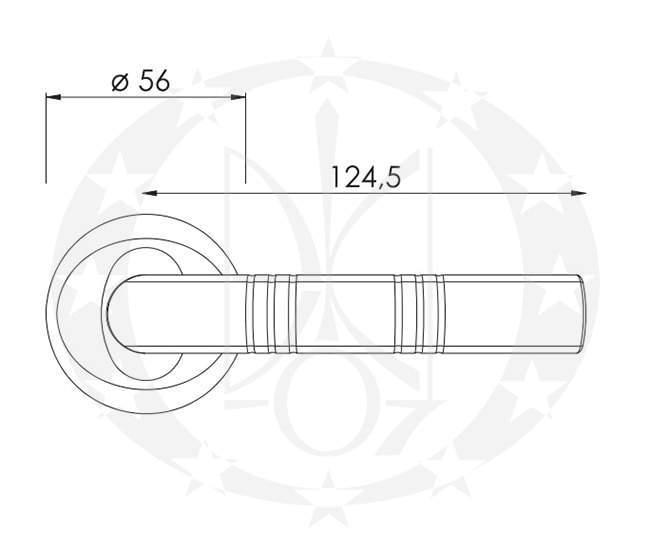 Ручка дверна Nomet KOMANDOR T-581-104 креслення