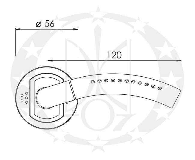 Ручка дверна Nomet GEMINI T-661-112 креслення та розміри