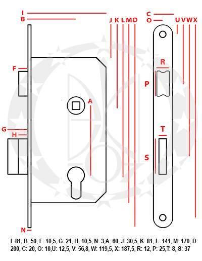 Замок Jania 60/50 під ключ (Z014) креслення