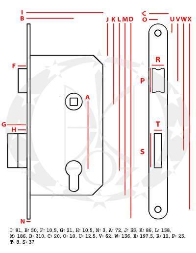 Замок під ключ Jania 72/50 (Z079) креслення