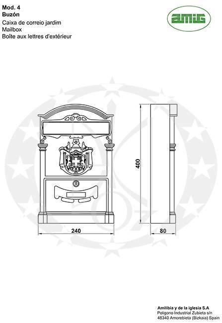 Скринька поштова AMIG mod.4 (12212) креслення