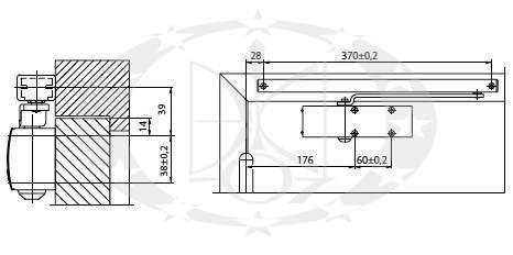 Амортизатор дверний з ковзною тягою GEZE TS1500 креслення