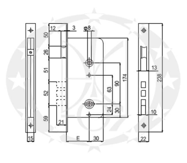 Замок SAB 510 90/50 E50 креслення