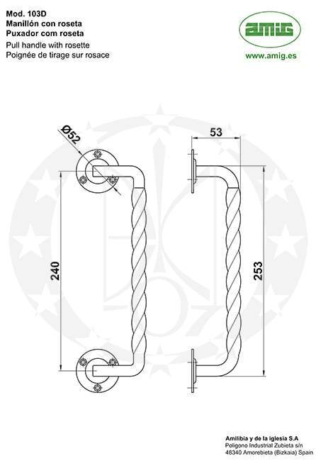 Ручка - антаба AMIG mod.103-240D (20053) чорна