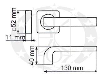 Ручка на розеті Gamet ARCO DH-95A-24Z-04-11-MC-KW-BL креслення