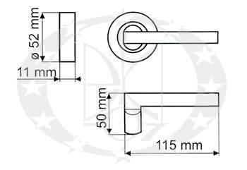 Ручка дверна Gamet DH-98A-24Z-07-BL креслення